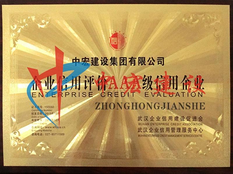 2015年(武汉企业信用建设促进会授予AAA级信用企业)
